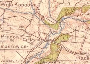 Położenie dworu w Woli Kopcowej na mapie WIG 1933